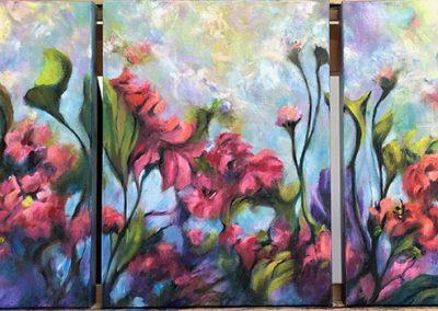 In the Garden triptych 92 x 40cm