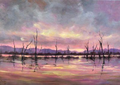 Sunset, Lake Fyans 92 x 60cm